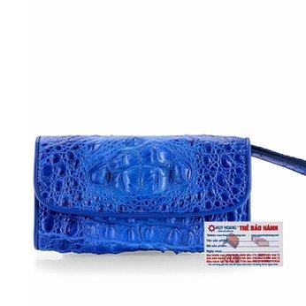 Ví nữ da cá sấu Huy Hoàng 3 gấp nguyên con màu xanh dương HH3292
