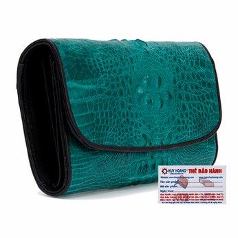 Ví nữ da cá sấu Huy Hoàng 3 gấp nguyên con màu xanh lá HH3291
