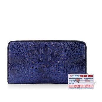 Ví nữ da cá sấu Huy Hoàng nhiều ngăn màu xanh đậm HH3723