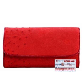 Ví nữ da đà điểu Huy Hoàng 3 gấp màu đỏ HH3401