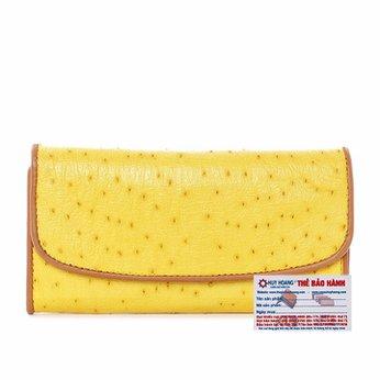 Ví nữ da đà điểu Huy Hoàng 3 gấp màu vàng HH3404