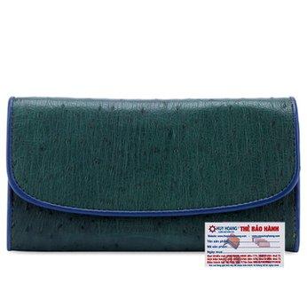 Ví nữ da đà điểu Huy Hoàng 3 gấp màu xanh lục HH3412