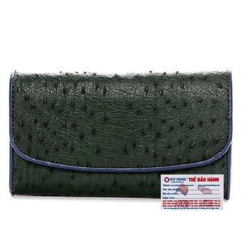Ví nữ da đà điểu Huy Hoàng 3 gấp màu xanh rêu HH3410
