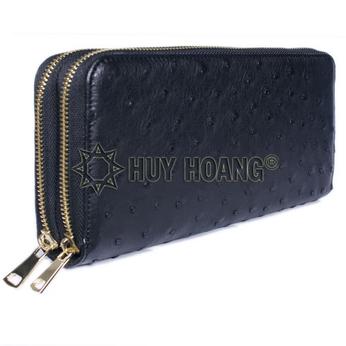 HH3458 - Ví cầm tay da đà điểu Huy Hoàng nhiều ngăn màu đen