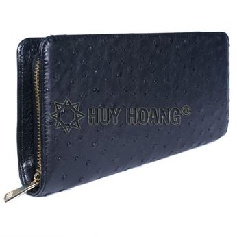 HH3462 - Ví nữ da đà điểu Huy Hoàng 1 khóa thụt màu đen