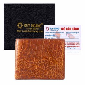 Bóp nam Huy Hoàng da cá sấu gai bụng màu vàng HH2203