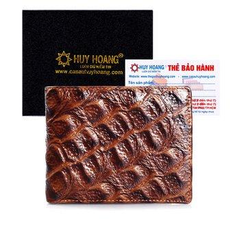Bóp nam Huy Hoàng vân cá sấu gai lớn màu nâu HH2118