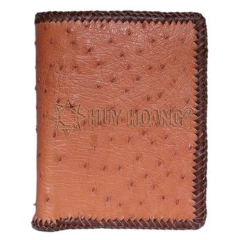 Bóp nam Huy Hoàng da đà điểu da bụng kiểu đứng đan viên màu nâu đỏ - HH2461