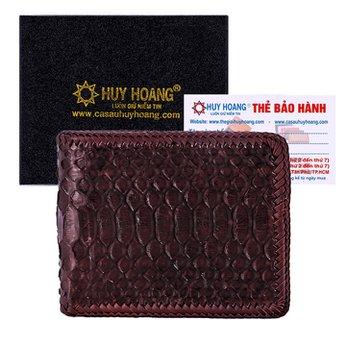 Bóp nam Huy Hoàng da trăn đan viền màu nâu HH2314