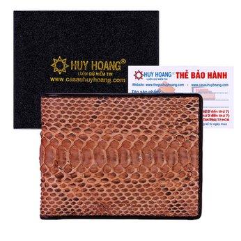 Bóp nam Huy Hoàng da trăn màu nâu hồng HH2309