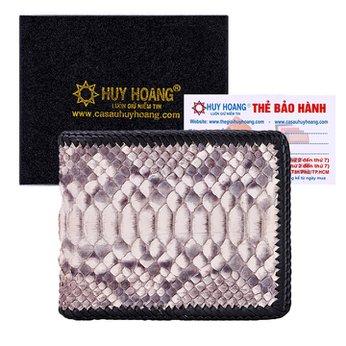 Bóp nam Huy Hoàng da trăn đan viền màu trắng HH2316