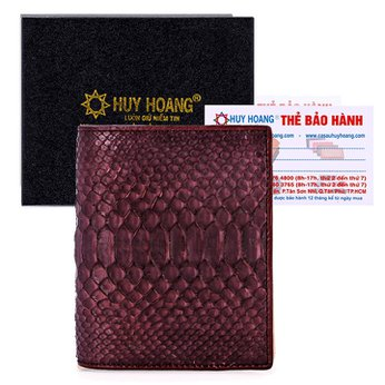 Bóp nam Huy Hoàng da trăn kiểu đứng màu nâu HH2305