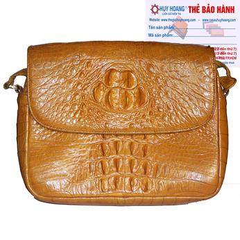 Túi xách da cá sấu Huy Hoàng hộp vuông màu vàng nghệ HH6207