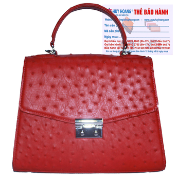 Túi hộp đeo chéo nữ Huy Hoàng da đà điểu màu đỏ HH6461