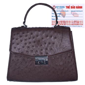 Túi hộp đeo chéo nữ Huy Hoàng da đà điểu màu nâu đất HH6458