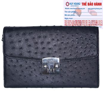 Túi cầm tay nữ Huy Hoàng da đà điểu màu đen HH6451