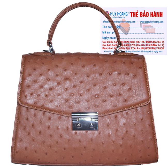 Túi hộp đeo chéo nữ Huy Hoàng da đà điểu màu nâu đỏ HH6460