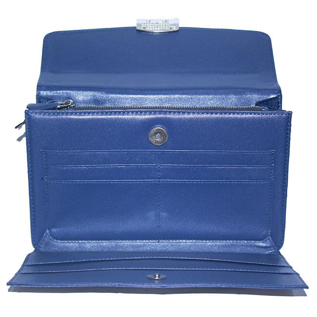 Túi cầm tay nữ Huy Hoàng da đà điểu màu xanh đậm HH6456