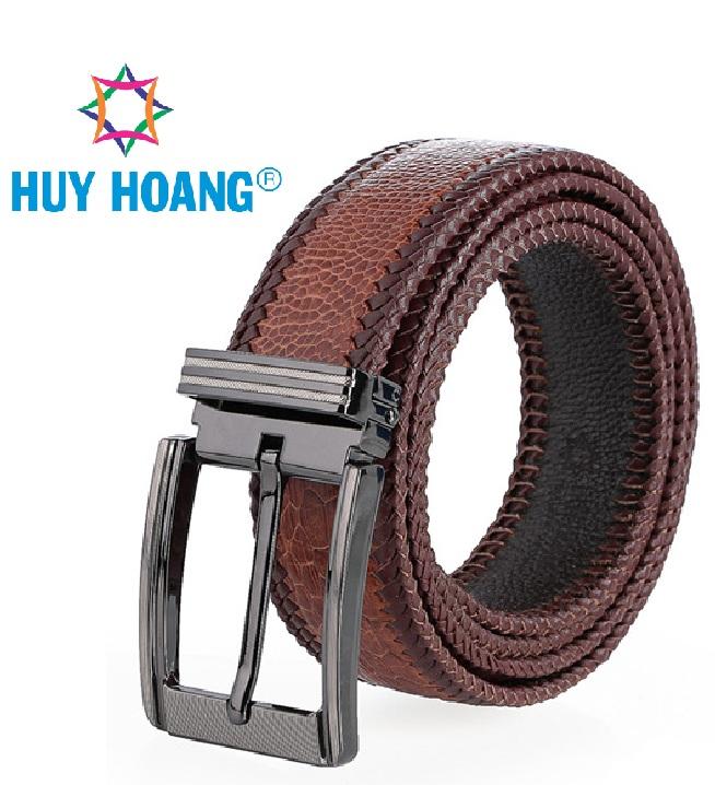 Dây nịt nam da đà điểu đan viền đầu kim nhiều màu HG4457-69
