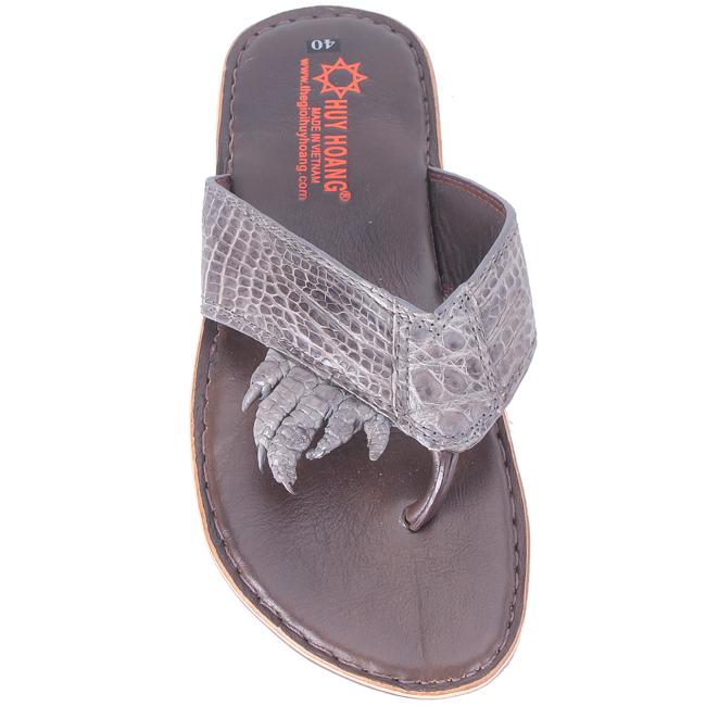HG7218 - Dép nam Huy Hoàng da cá sấu móng tay màu xám