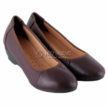 HG7940 - Giày nữ da bò 3 phân màu nâu đất