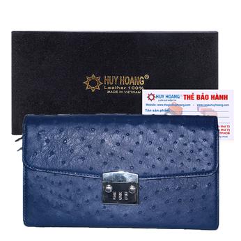 Túi cầm tay nữ Huy Hoàng da đà điểu màu xanh đậm HG6456