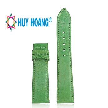HG8442 - Dây đồng hồ Huy Hoàng da đà điểu da bụng màu xanh lá