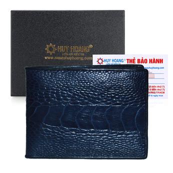 Bóp nam Huy Hoàng da đà điểu da chân màu xanh đậm HG2433