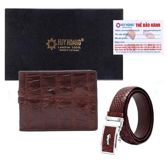 HG2208-HG4211 - Bộ Bóp & Dây nịt nam Huy Hoàng da cá sấu gai đuôi màu nâu đỏ