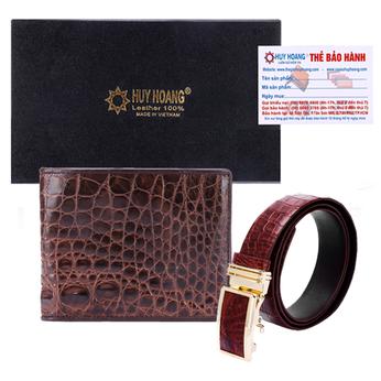 HG2240-HG4202 - Bộ Bóp & Dây nịt nam Huy Hoàng da cá sấu màu nâu đất