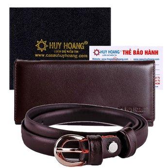 HG5112-HG3123-Bộ Thắt lưng & Ví nữ Huy Hoàng da bò màu nâu