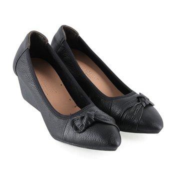 HG7942 - Giày nữ da bò 5 phân màu đen