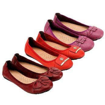 HG7909-10-11 - Giày nữ búp bê da bò nhiều màu