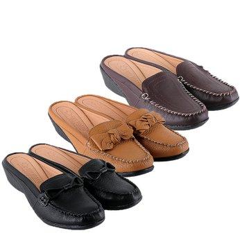 HG7935-36-37 - Giày sabo nữ da bò nhiều màu