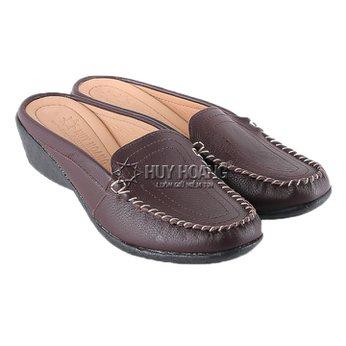 HG7937 - Giày sabo nữ da bò màu nâu đất