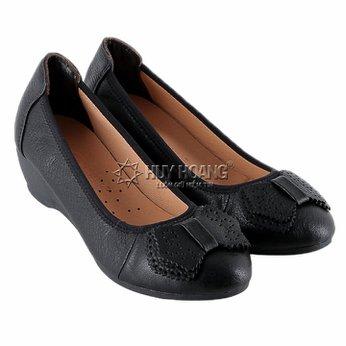 HG7939 - Giày nữ da bò 3 phân màu đen