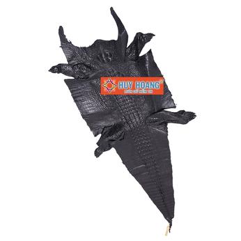 HG1201 - Da thuộc da cá sấu mổ bụng màu đen