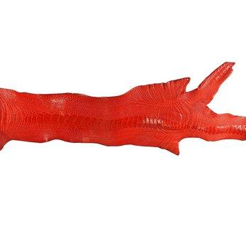 HG1410 - Da thuộc da đà điểu mổ chân đà điểu màu đỏ tươi