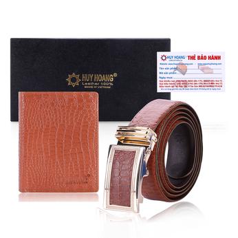 HG2121-HG4115 - Bộ Bóp & Dây nịt nam Huy Hoàng vân cá sấu màu nâu