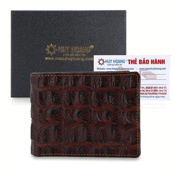 Bóp nam Huy Hoàng vân cá sấu màu nâu đỏ HG2148