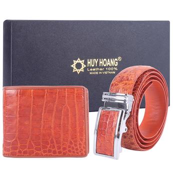 HG2203-HG4203 - Bộ Bóp & Dây nịt nam Huy Hoàng da cá sấu màu vàng
