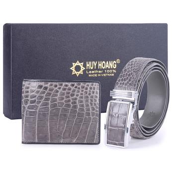HG2263-HG4267 - Bộ Bóp & Dây nịt nam Huy Hoàng da cá sấu màu xám