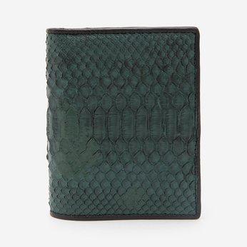 Bóp nam Huy Hoàng da trăn kiểu đứng màu xanh rêu HG2319