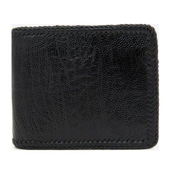 Bóp nam Huy Hoàng da đà điểu đan viền màu đen HG2416