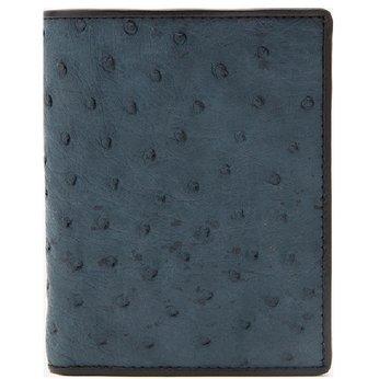 Bóp nam Huy Hoàng da đà điểu da bụng kiểu đứng màu xanh đậm HG2431