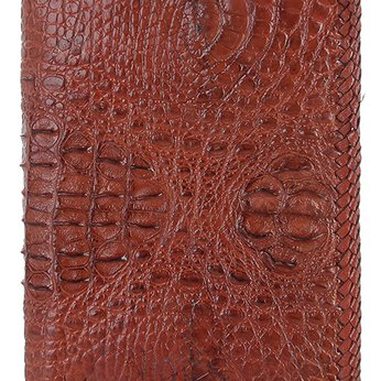 HG2765 - Bóp nam Huy Hoàng da cá sấu nguyên con đan viền kiểu đứng màu nâu đỏ