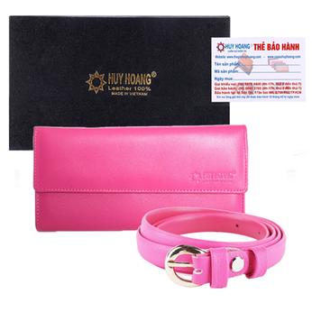 HG3128-HG5132 - Bộ Ví nữ & Thắt lưng nữ Huy Hoàng da bò màu hồng