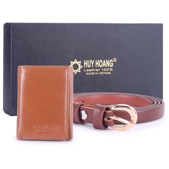 HG3136-HG5109 - Bộ Ví & Thắt lưng nữ Huy Hoàng da bò màu da