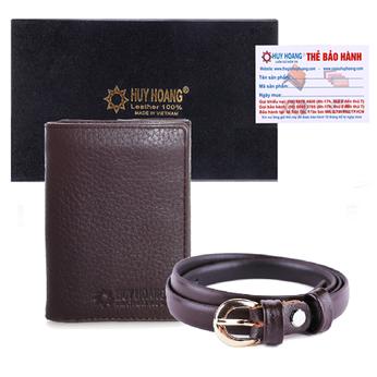 HG3138 - HG5112 - Bộ ví & thắt lưng nữ da bò Huy Hoàng màu nâu