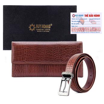 HG3150-HG5122 - Bộ Ví nữ & Thắt lưng nữ Huy Hoàng da bò màu nâu